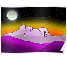Mount Warning By Moonlight Poster