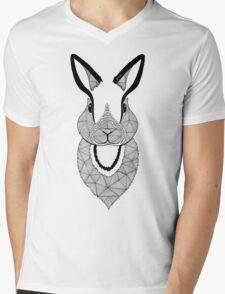 Rabbit black and white Mens V-Neck T-Shirt