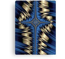 Blue and Gold Cross Abstract Canvas Print