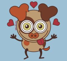 Funny dog showing hearts and feeling lucky in love Kids Clothes