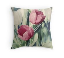 Twin Tulips in Pastel Pink Throw Pillow