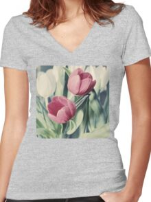 Twin Tulips in Pastel Pink Women's Fitted V-Neck T-Shirt