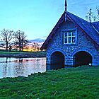 Carton boathouse Sunset 2 by DES PALMER