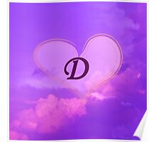 Heart with Monogram D Poster