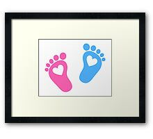 Baby feet with hearts Framed Print