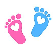 Baby feet with hearts Photographic Print