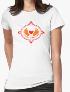 Made with love, baby feet with heart Womens Fitted T-Shirt