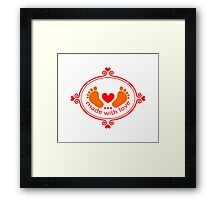Made with love, baby feet with heart Framed Print