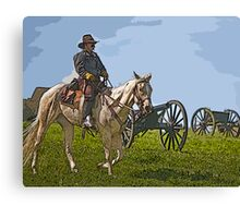 Stylized Civil War Officer On Horseback On Battlefield with Cannon Canvas Print