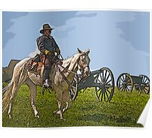Stylized Civil War Officer On Horseback On Battlefield with Cannon Poster