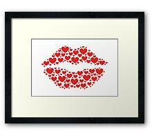 KISS LIPS WITH HEARTS, Valentine`s Day Framed Print