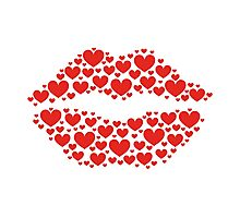 KISS LIPS WITH HEARTS, Valentine`s Day Photographic Print