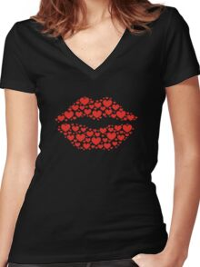 KISS LIPS WITH HEARTS, Valentine`s Day Women's Fitted V-Neck T-Shirt