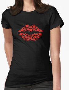 KISS LIPS WITH HEARTS, Valentine`s Day Womens Fitted T-Shirt