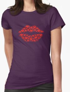 KISS LIPS WITH HEARTS, Valentine`s Day T-Shirt