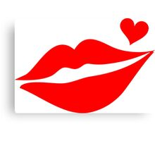LIPS WITH HEART, Valentine`s Day Canvas Print