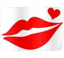 LIPS WITH HEART, Valentine`s Day Poster