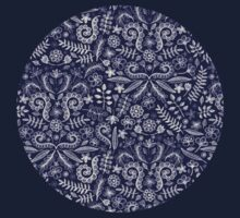 Chalkboard Floral Doodle Pattern in Navy & Cream Kids Tee