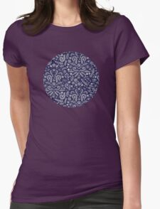 Chalkboard Floral Doodle Pattern in Navy & Cream T-Shirt