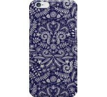 Chalkboard Floral Doodle Pattern in Navy & Cream iPhone Case/Skin