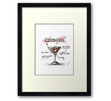 Cocktail - Manhattan Recipe Framed Print