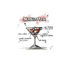 Cocktail - Manhattan Recipe Photographic Print