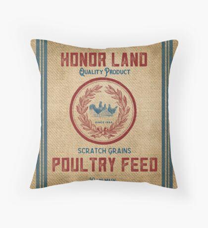 Vintage Burlap Like Feed Sack Throw Pillow