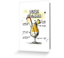 Cocktail - Pina Colada Recipe Greeting Card