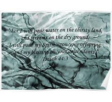 Isaiah 44 verse 3 Greeny Blue Water Branches Poster Poster