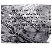 Water Branches Bible Reflections Revelation 21 verse 6 purple Poster