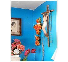 Orange and Blue with Crucifix Poster