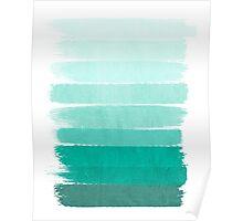 Ombre - Brushstroke Green/Blue Ocean Ombre, girly trend, dorm decor, cell phone, beach, summer,  Poster
