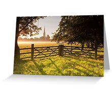 Salisbury cathedral at dawn Greeting Card
