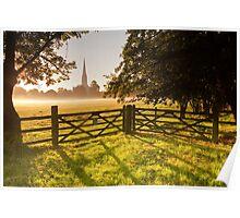 Salisbury cathedral at dawn Poster