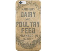 Vintage Burlap Style Dairy Poultry Feed Sack Design iPhone Case/Skin