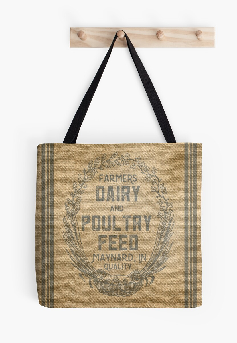 http://www.redbubble.com/people/marceejean/works/13791670-vintage-burlap-style-dairy-poultry-feed-sack-design?p=tote-bag&size=large