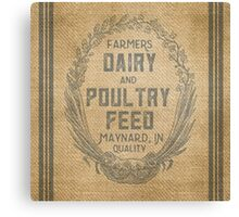 Vintage Burlap Style Dairy Poultry Feed Sack Design Canvas Print