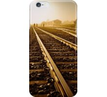 Railway Tracks at sunrise and twilight sky iPhone Case/Skin