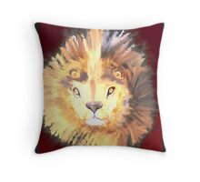 Lion in Red Throw Pillow