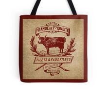 French Burlap Meat Filets Advertisement Tote Bag