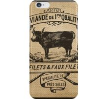French Burlap Meat Filets Advertisement Black iPhone Case/Skin