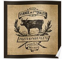 French Burlap Meat Filets Advertisement Black Poster