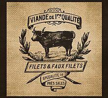French Burlap Meat Filets Advertisement Black by marceejean