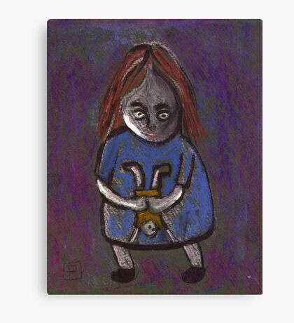 A spooky child with a spooky doll Canvas Print