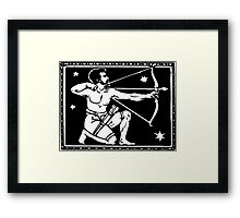 Sagitarrius the Archer woodcut Framed Print