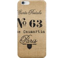Vintage Burlap Ticker Look Paris france iPhone Case/Skin
