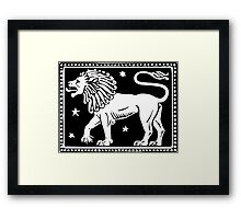 Leo the Lion Woodcut Framed Print