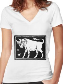 Taurus the Bull Woodcut Women's Fitted V-Neck T-Shirt