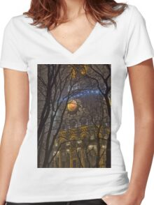 Water Tower At Night 1 Women's Fitted V-Neck T-Shirt