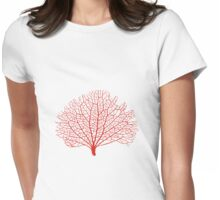 red sea fan coral silhouette Womens Fitted T-Shirt